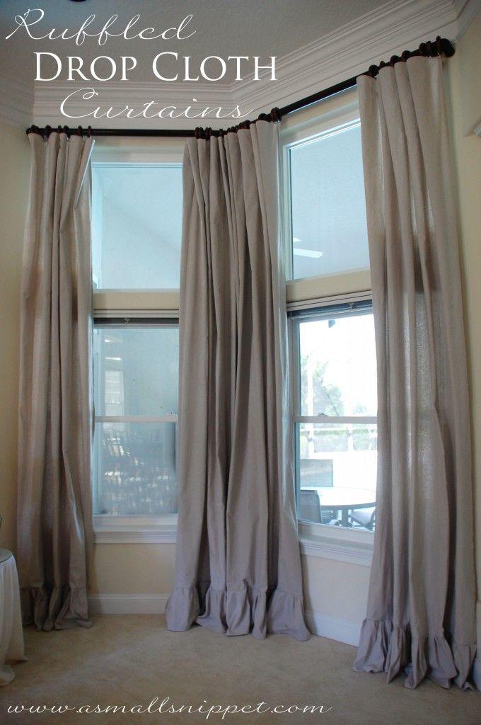 diy ruffled drop cloth curtains decor inspiration pinterest faden nadel und einrichtungsideen. Black Bedroom Furniture Sets. Home Design Ideas