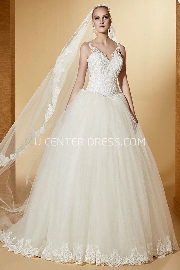 b34ad6a9a2ed $221.89-Beautiful Scoop Tulle Beaded Wedding Dress With Illusion Back and  Shoulder Straps. http