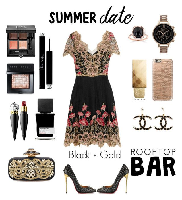 """""""//Black&Gold// Summer Date"""" by b-chotai ❤ liked on Polyvore featuring Notte by Marchesa, Kobelli, Christian Louboutin, Olivia Burton, Casetify, MiN New York, Bobbi Brown Cosmetics, Christian Dior, Givenchy and Burberry"""