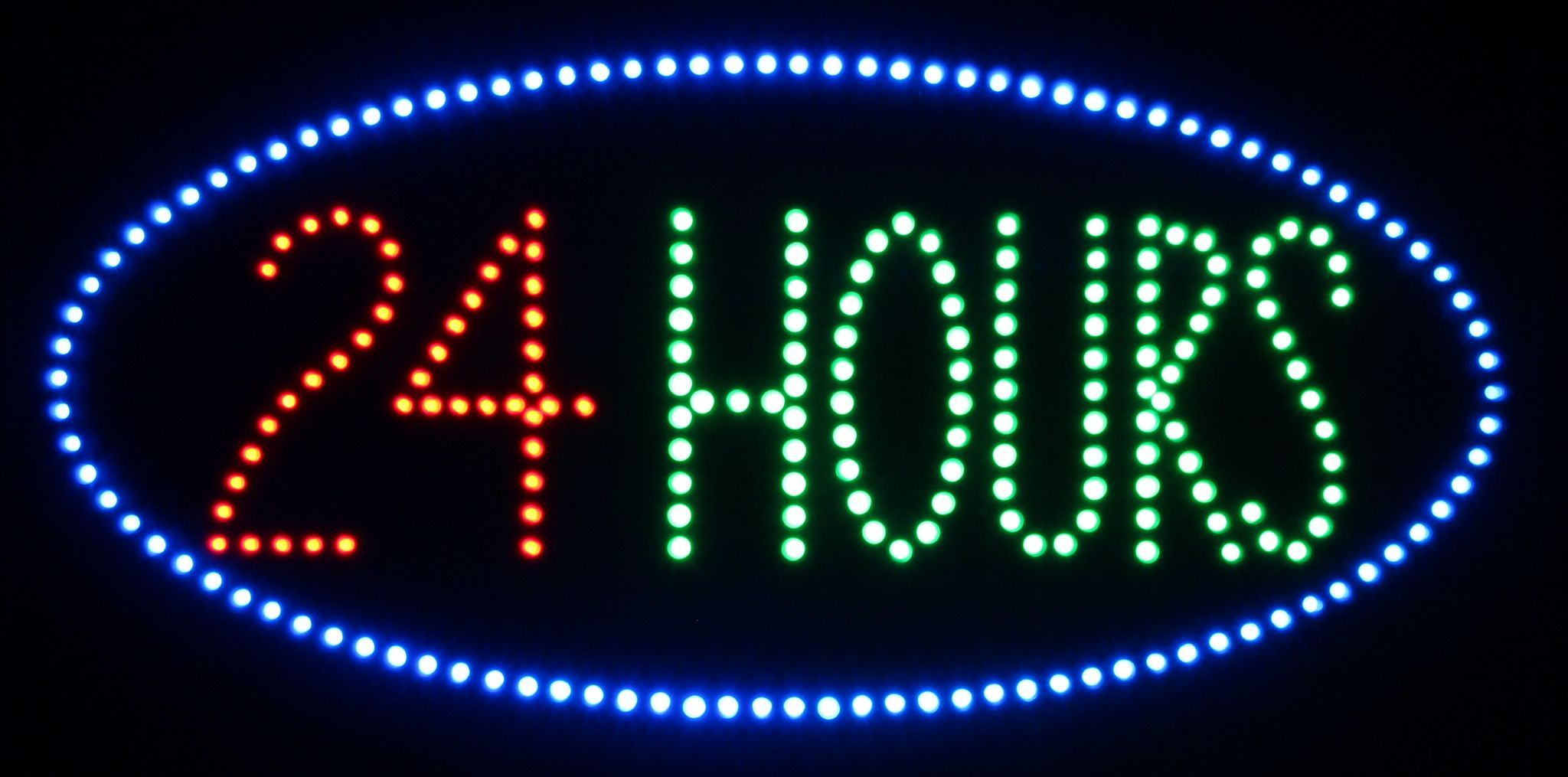 Open 24 Hours LED Sign Led signs, Open 24 hours, Led