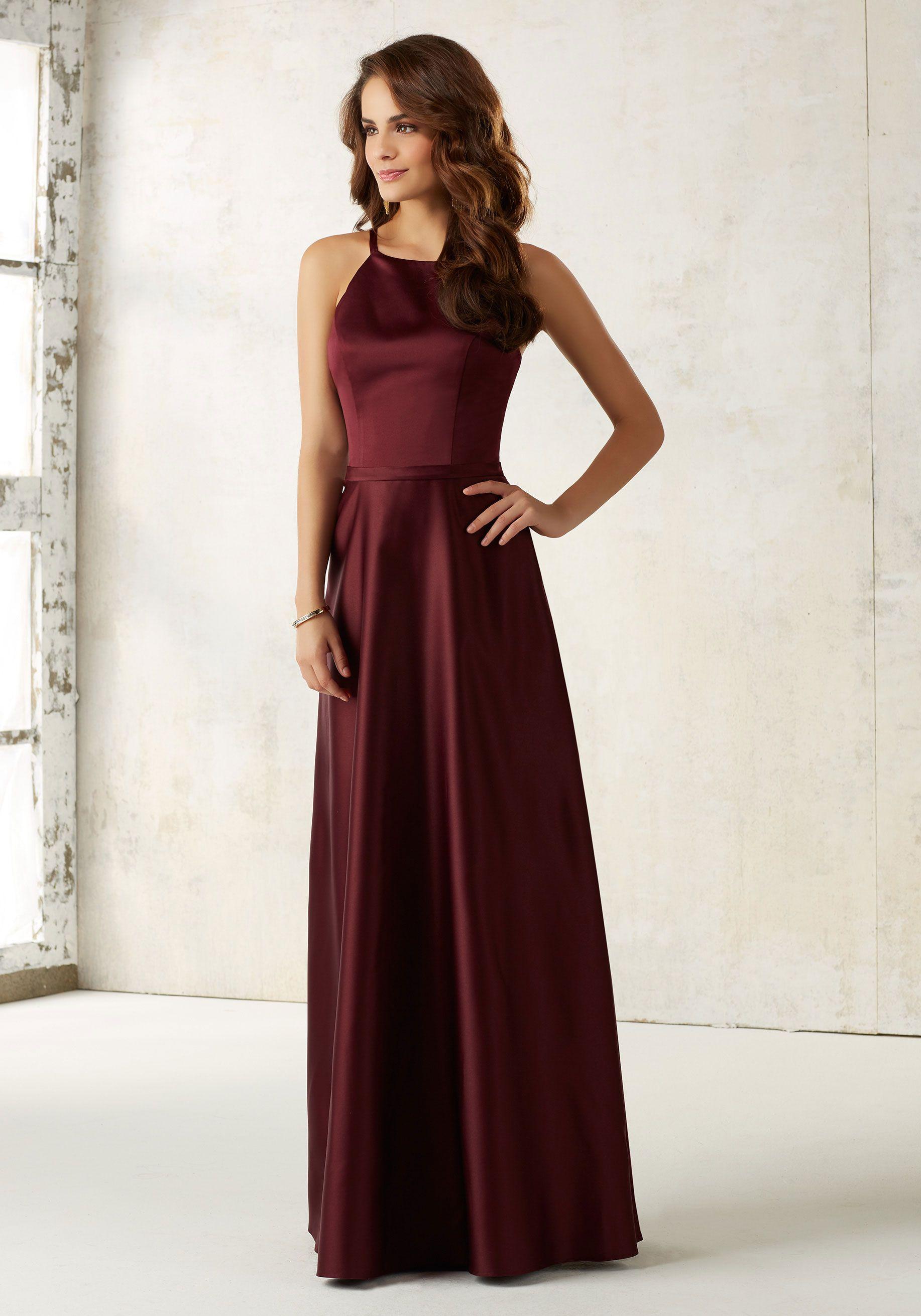 Morilee By Madeline Gardner Bridesmaids Style 21517 Sleek Satin Dress Features A Matching Waistband And Hidden Side Pockets