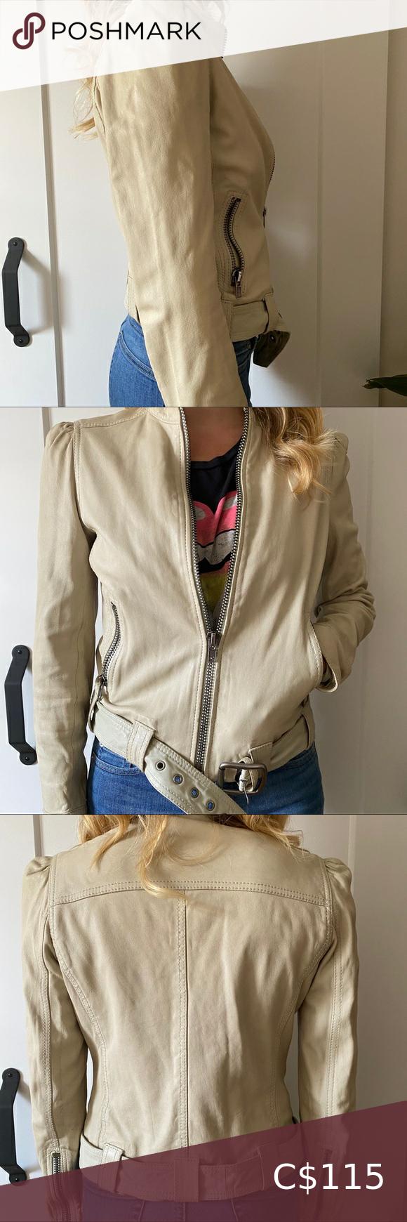 Rudsak Beige Leather Jacket Beige Leather Jacket Leather Jacket Clothes Design [ 1740 x 580 Pixel ]