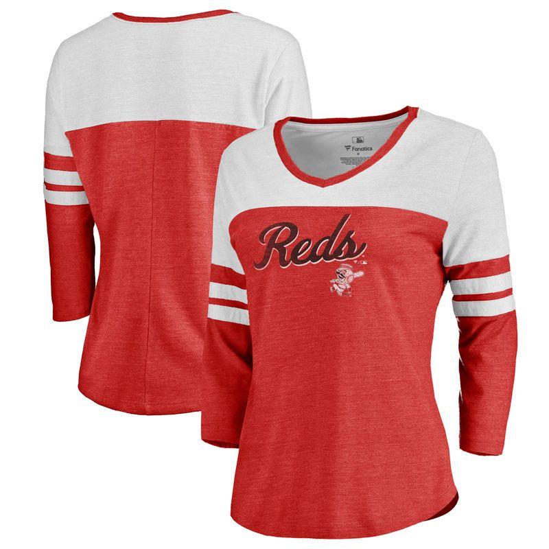 67fba9587 Fanatics Branded Cincinnati Reds Women s Red Rising Script Color Block 3 4  Sleeve Tri-Blend T-Shirt