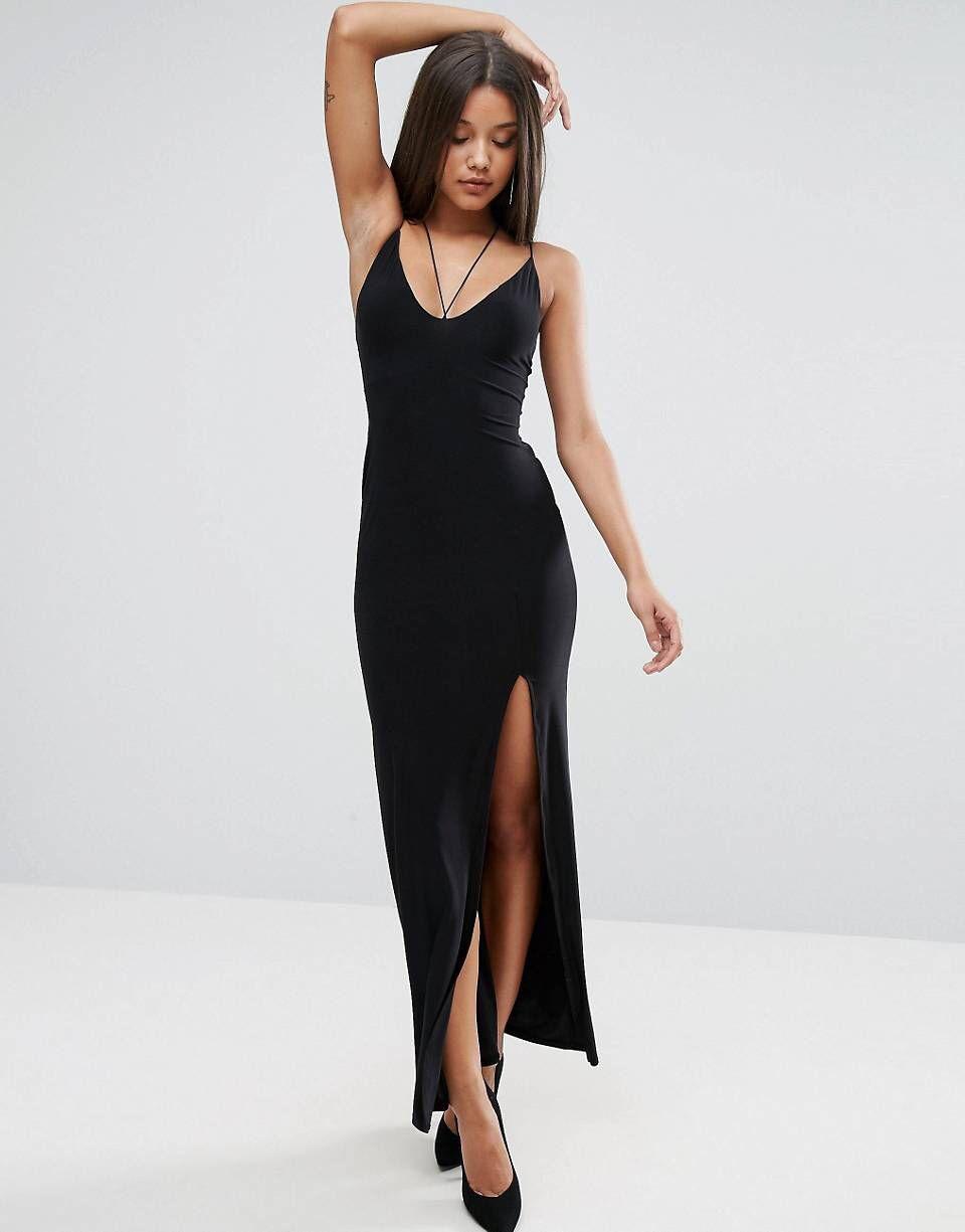 03569ef5b5d Club L Strappy Maxi Dress with Thigh Split