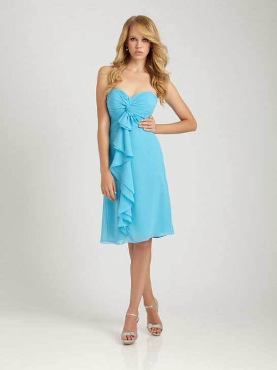 Dress Name: A short strapless dress with a ruched Sweetheart ...