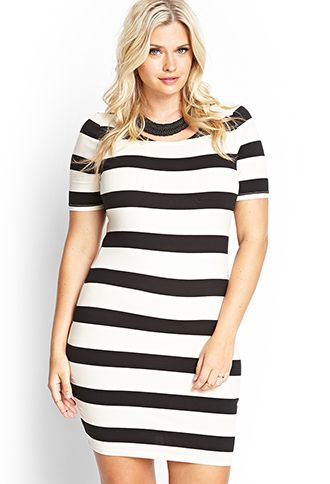 eb4acbe5ab3 Plus Size Striped Bodycon Dress