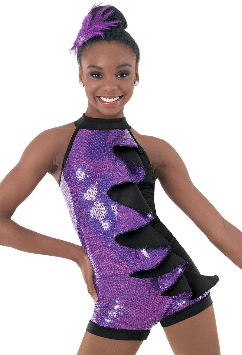 Weissman™   Hologram Glitter Ruffle Biketard   Dance Costumes ...