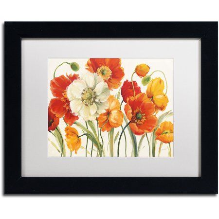 Trademark Fine Art Poppies Melody I Canvas Art by Lisa Audit, White Matte, Black Frame, Size: 16 x 20, Multicolor