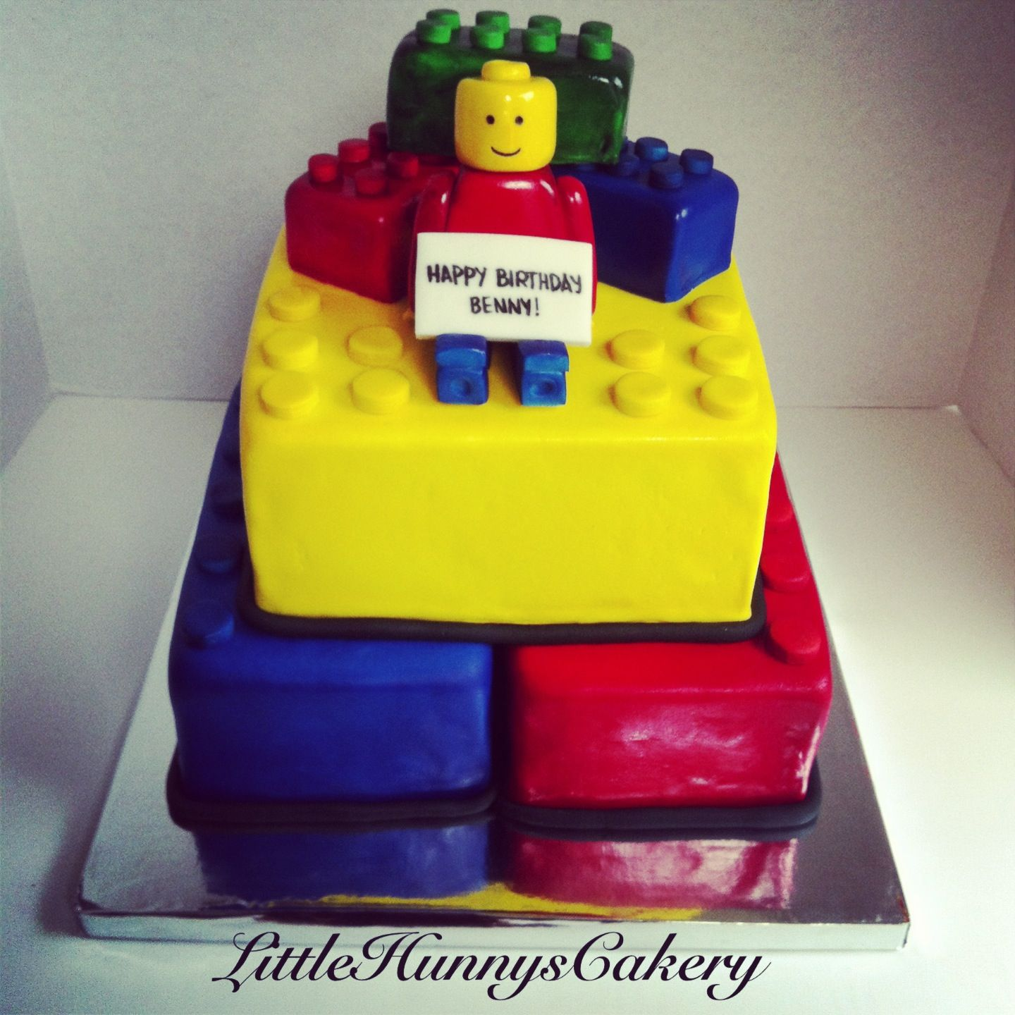 Bright colored lego cake for boys birthday Created by Little Hunnys