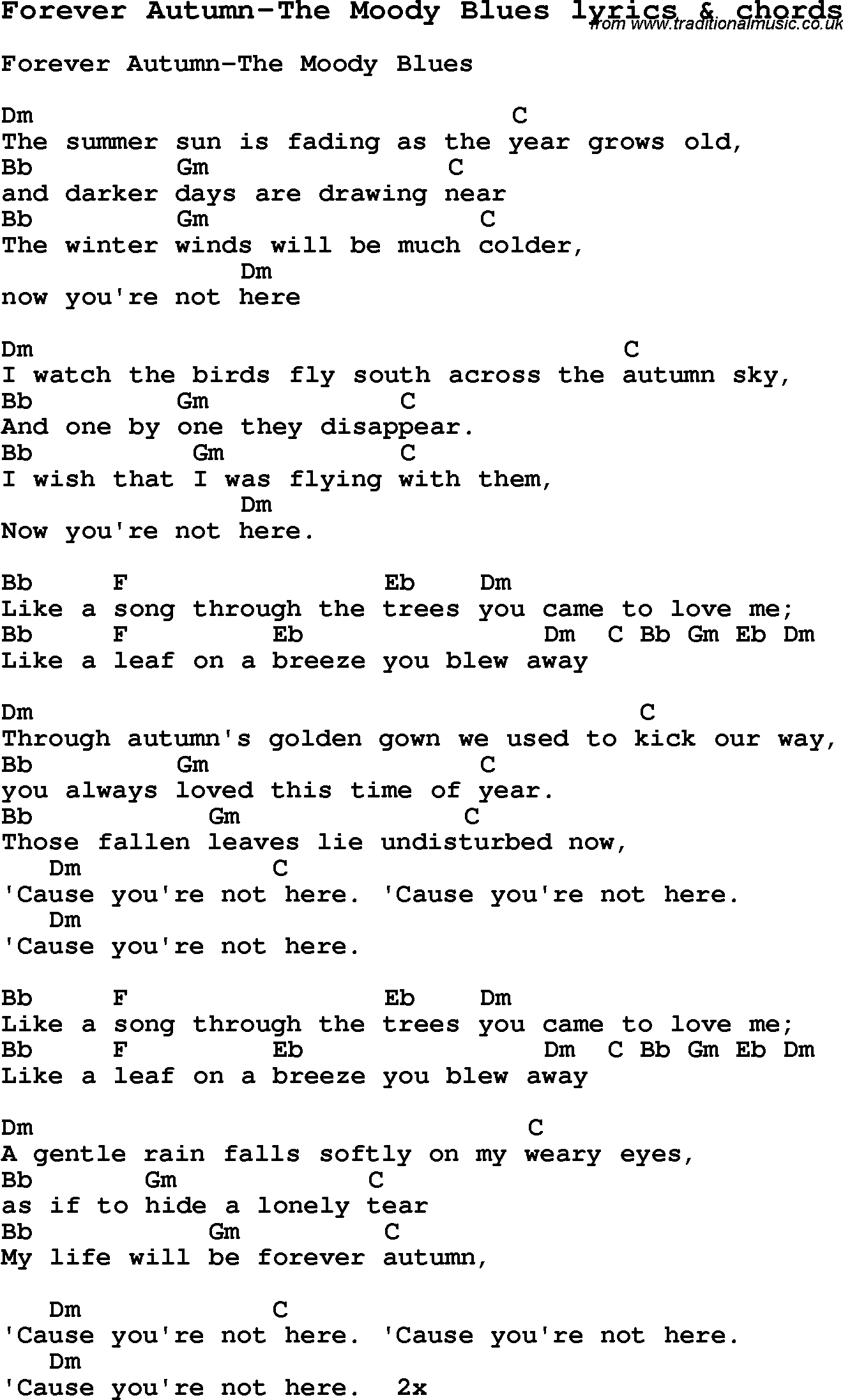 Love Song Lyrics for:Forever Autumn-The Moody Blues with