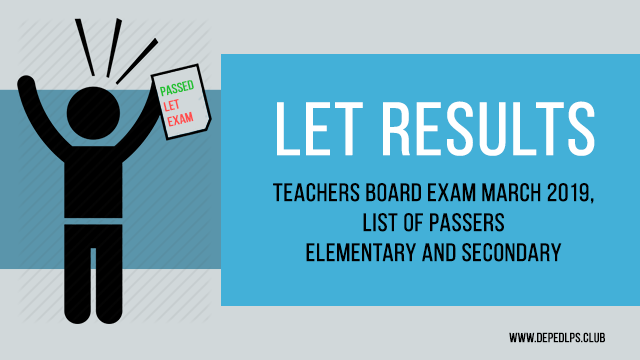 Let Teachers Board Exam Result March 2019 List Of Passers Elementary Secondary Board Exam Result Teacher Lesson Plans Board Exam
