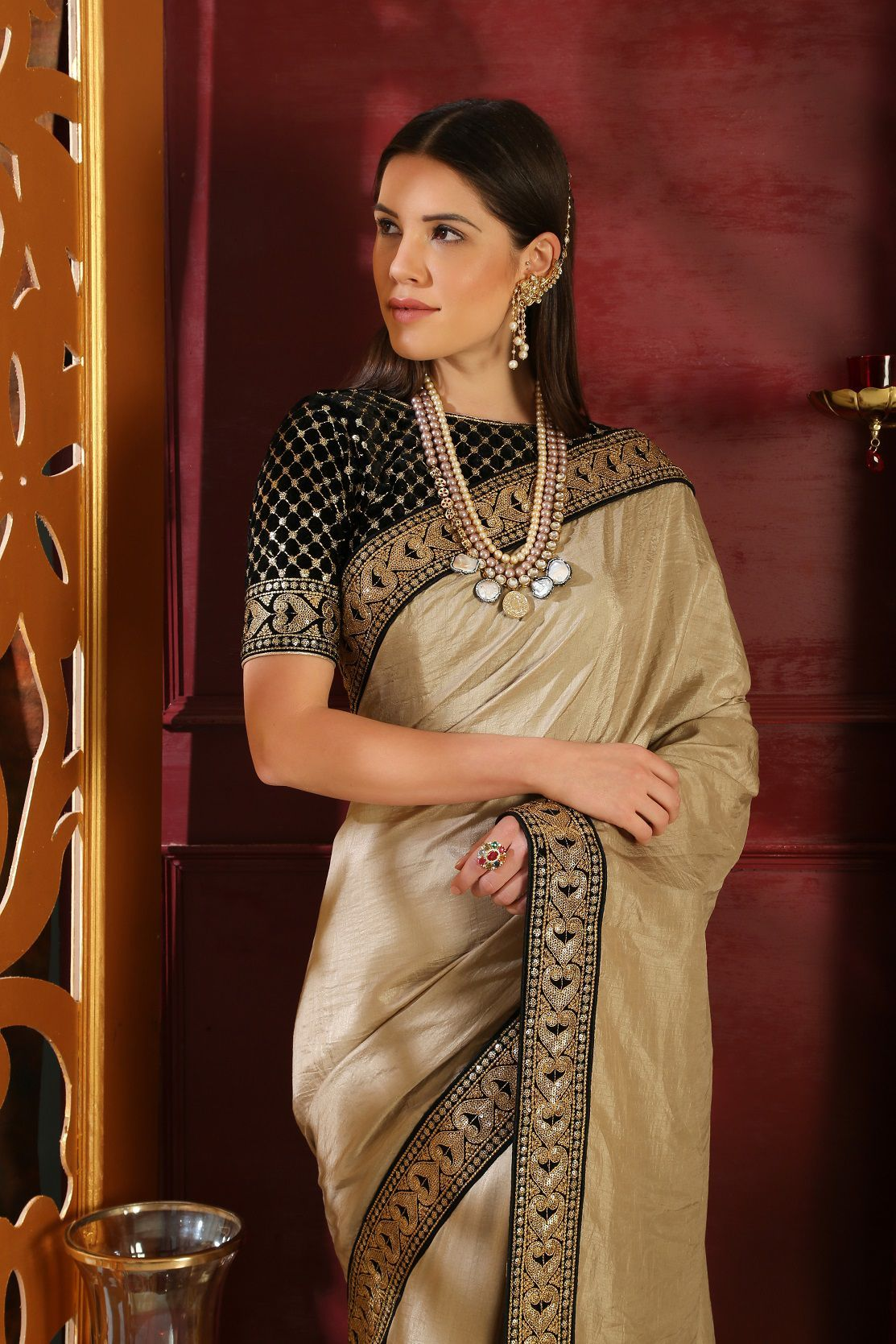 Buy beige and black silk party wear saree in uk usa and