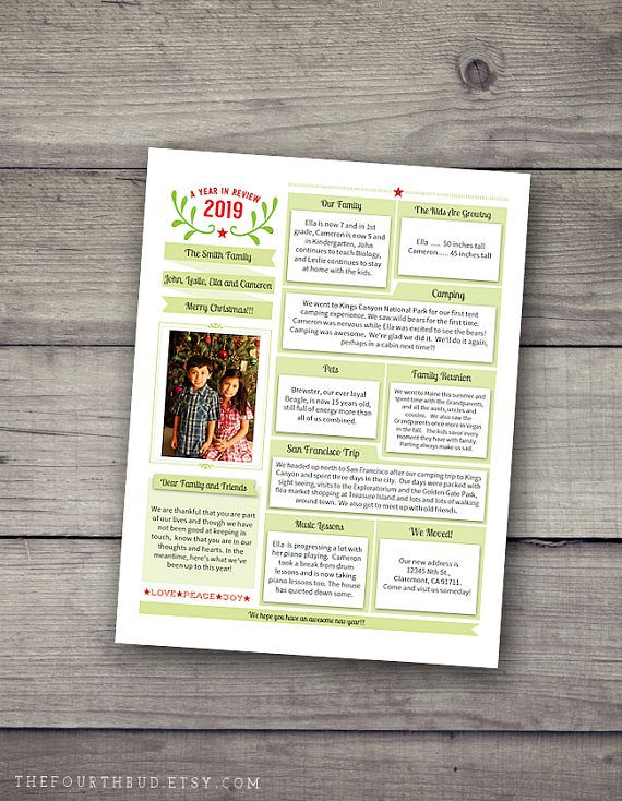 Year In Review  Christmas Newsletter Template In Pdf For