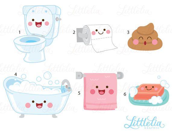 Bathroom Kawaii Clipart Bathroom Clipart 17049 Etsy Kawaii Clipart Clip Art Kawaii