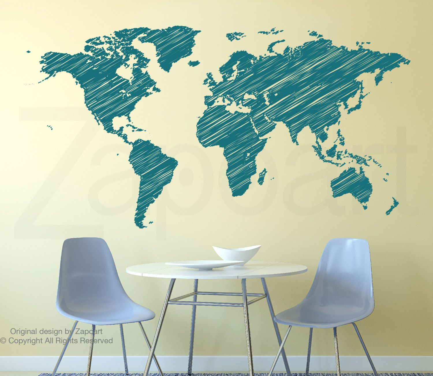 Hand Drawn World Map Wall Decals | Wall decals and Walls