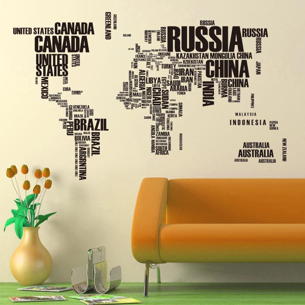 English letters large size removable pvc world map wall stickers