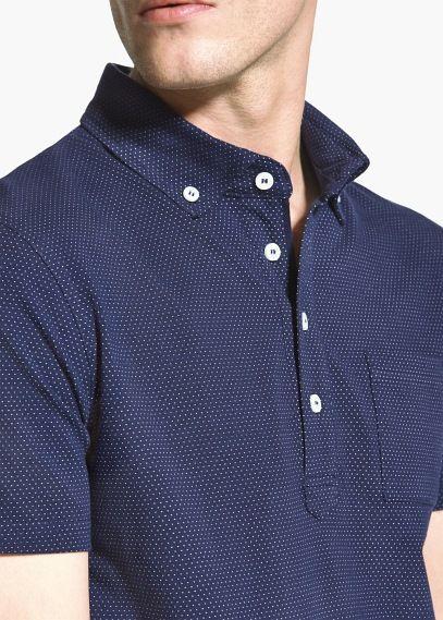 Dot-Pattern Cotton Polo Shirt   Mens polo shirts, Cotton polo ...