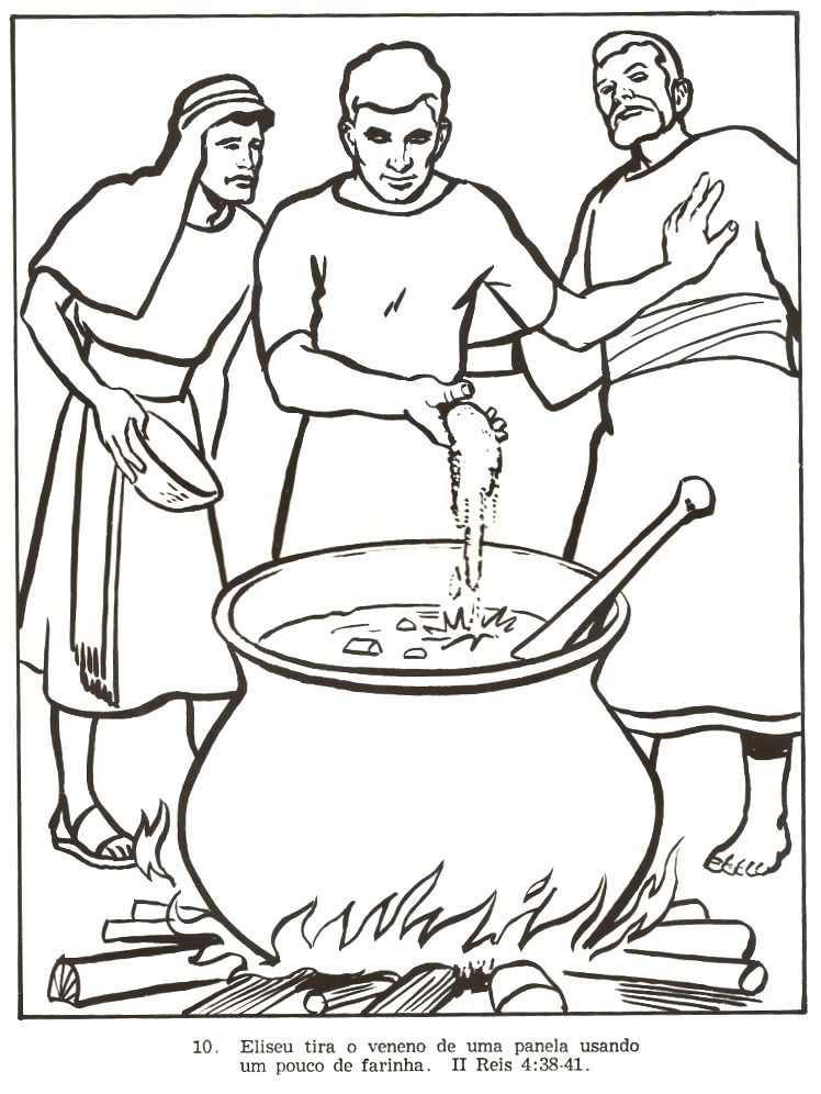 """2 Kings 4:38 Elisha went back down to Gilgal. There was a famine there. While he was consulting with the guild of prophets, he told his servant, """"Put a large pot on the fire and cook up some stew for the prophets."""""""