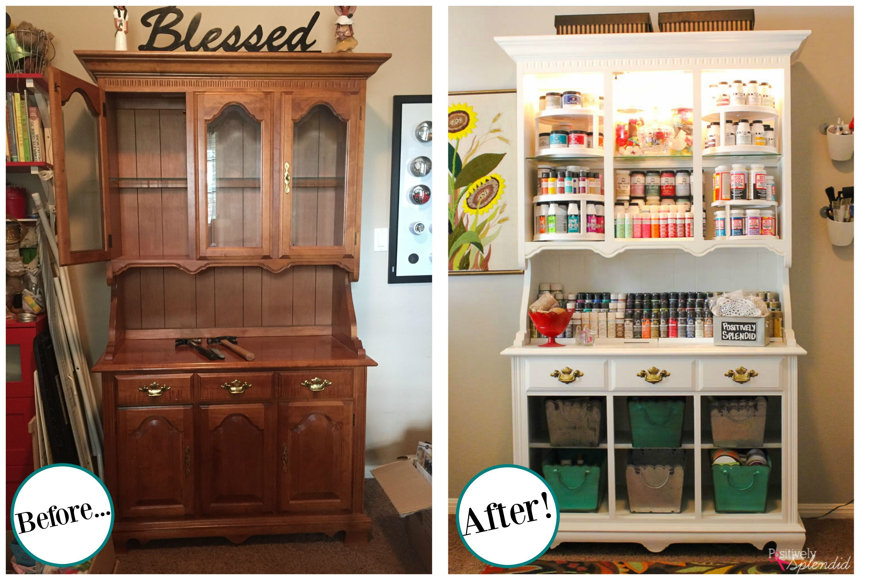 Craft Storage Center from and Old Hutch & Craft Storage Center from and Old Hutch | Storage Craft and Craft ...