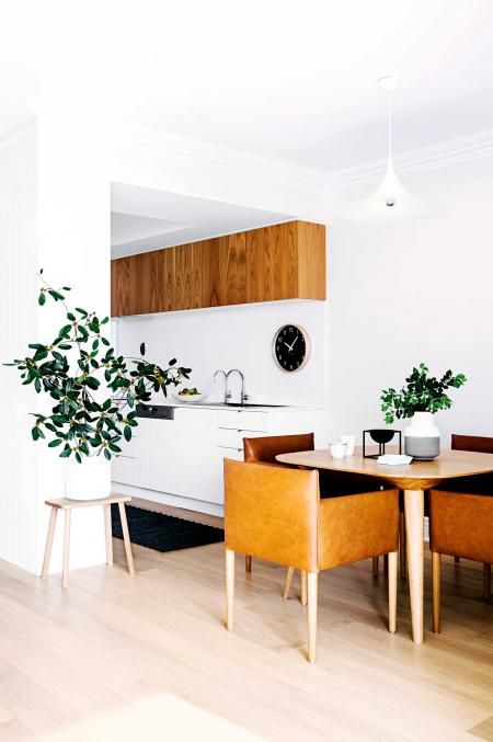 white-timber-kitchen-dining-wall-clock-brown-leather-chairs-may15