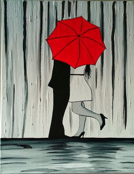 Couple In Rain Painting Couple Kissing In The Rain Wall Art