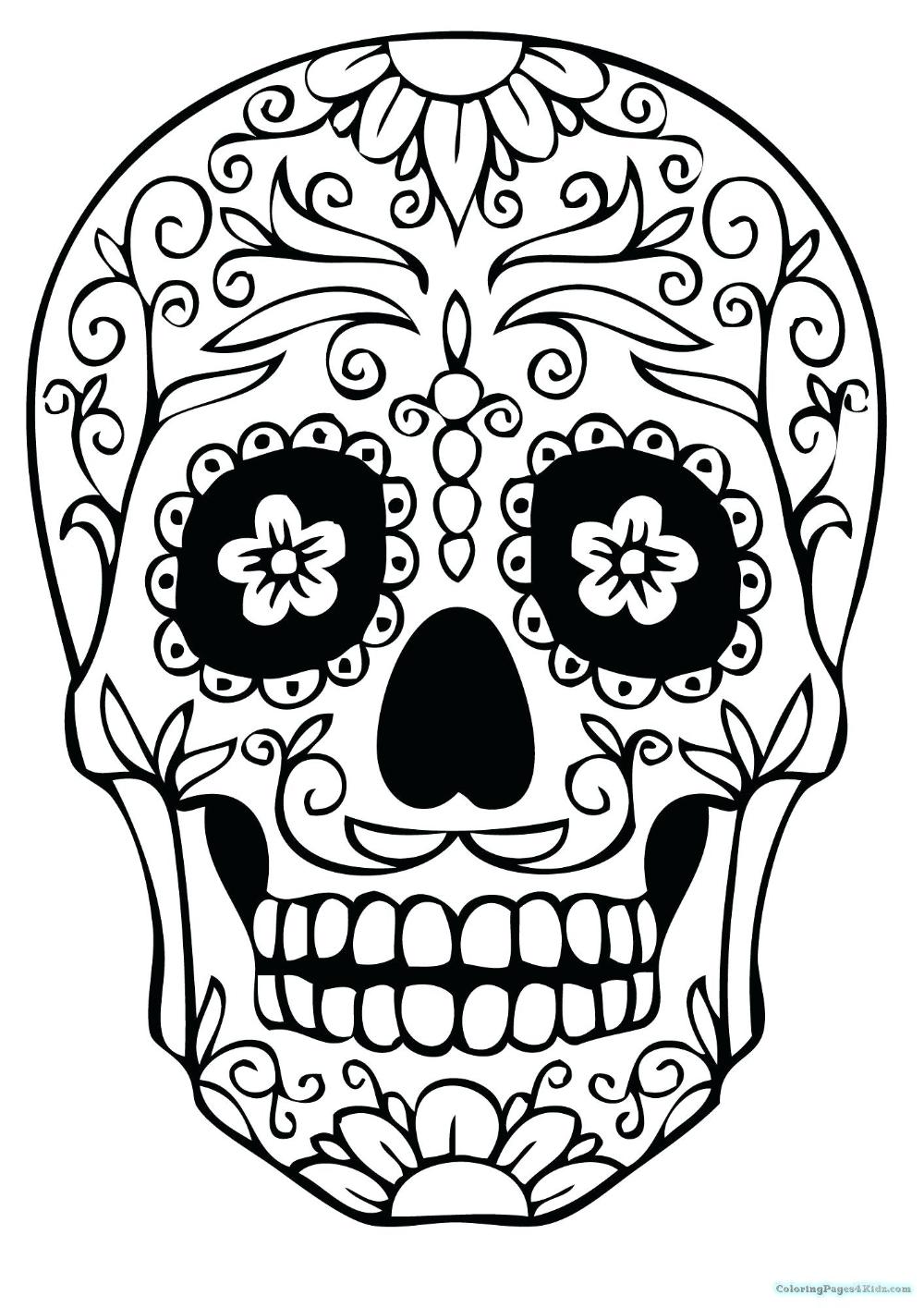 Skull Mandala Coloring Pages, HD Png Download - kindpng | 1415x1000