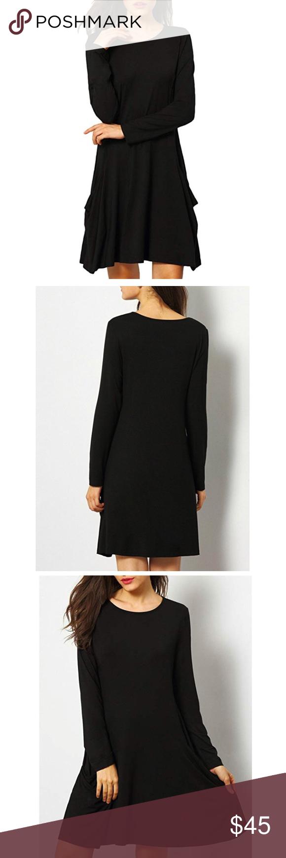 Becky swing dress black tunic pockets long sleeve boutique my posh