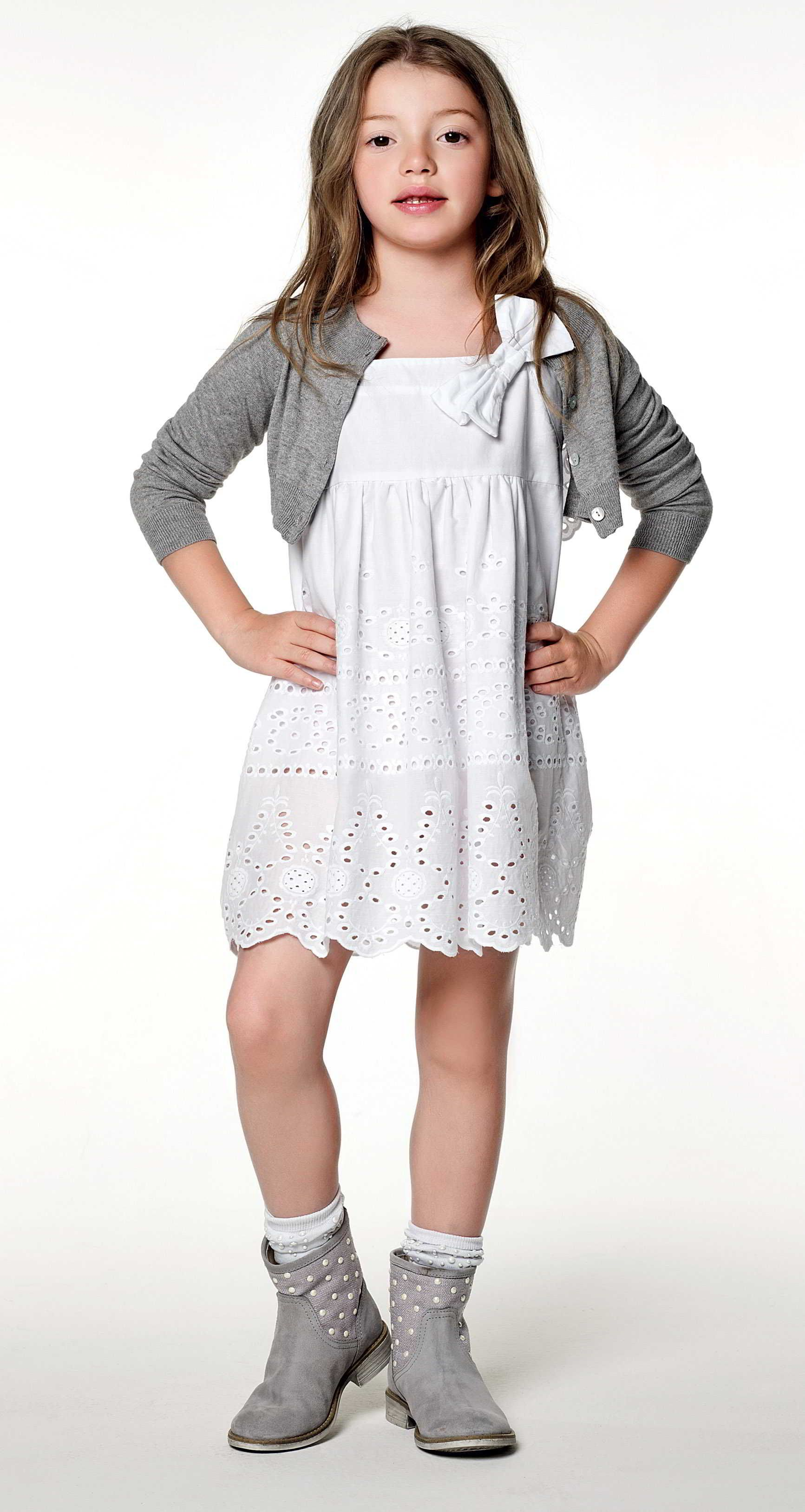 Twinset girl collection short cardigan embroidered dress with bow