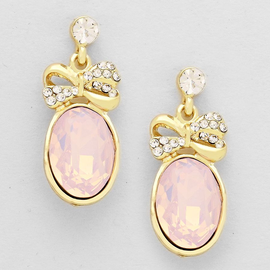 Gold and Pink Faux Opal Crystal Bow Oval Earrings #O #DropDangle