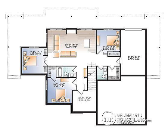 Basement Lakefront House Plan, 4 Bedrooms, Open Floor
