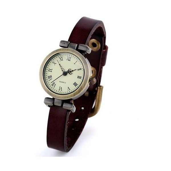 Vintage PU leather dark brown strap retro fashion girl roma woman... (£6.86) ❤ liked on Polyvore featuring jewelry, watches, retro style jewelry, vintage jewellery, vintage wristwatches, retro watches and vintage wrist watch