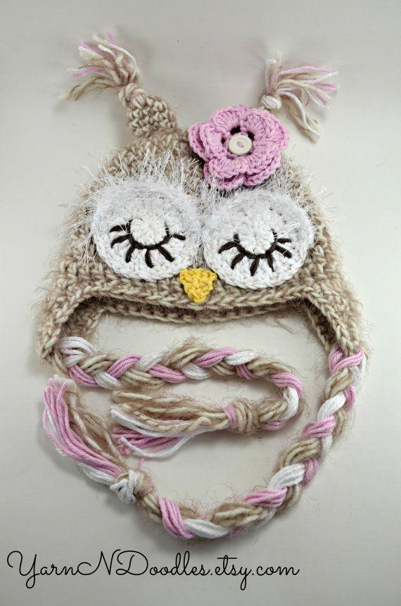 Sleepy Woodland Owl Crocheted Baby Newborn Infant by YarnNDoodles, $36.99