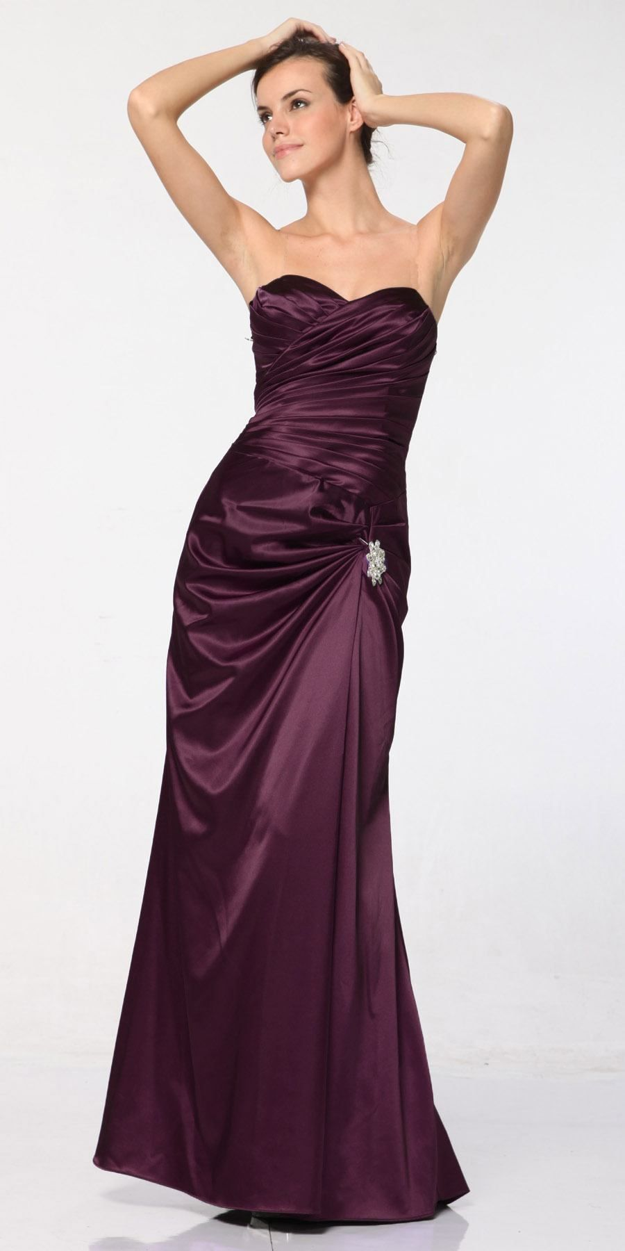 Silver Satin Prom Dress Pleated Bodice Strapless ...