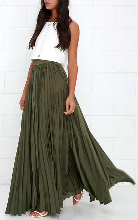 5f32b58f3f98 Back in a Minute Olive Green Maxi Skirt | Fashion | Maxiröcke ...