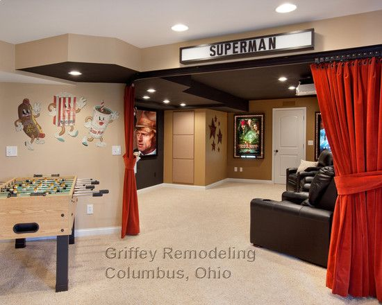 Movie Theater Decor Traditional Basement Small Basement Remodeling