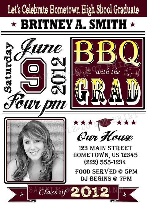 personalized graduation bbq photo party invitations planning 2015