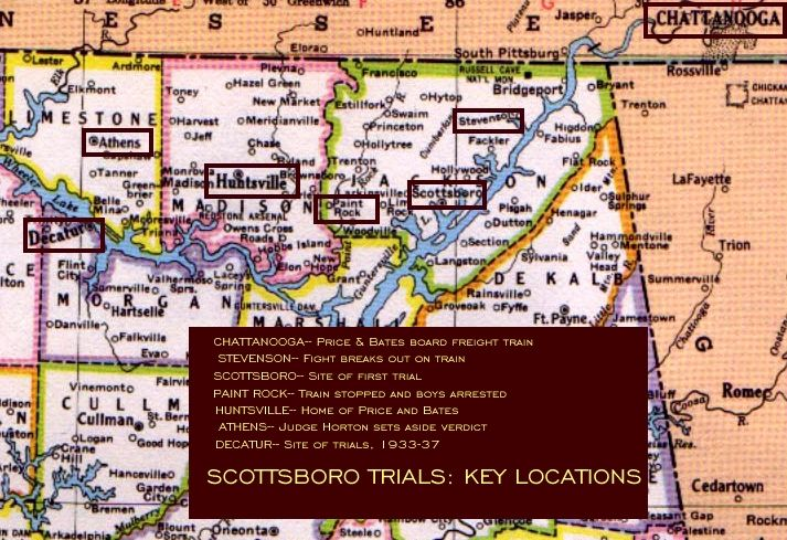 The Scottsboro Trials Map Showing Key Locations FAMOUS COURT - Map of northern alabama