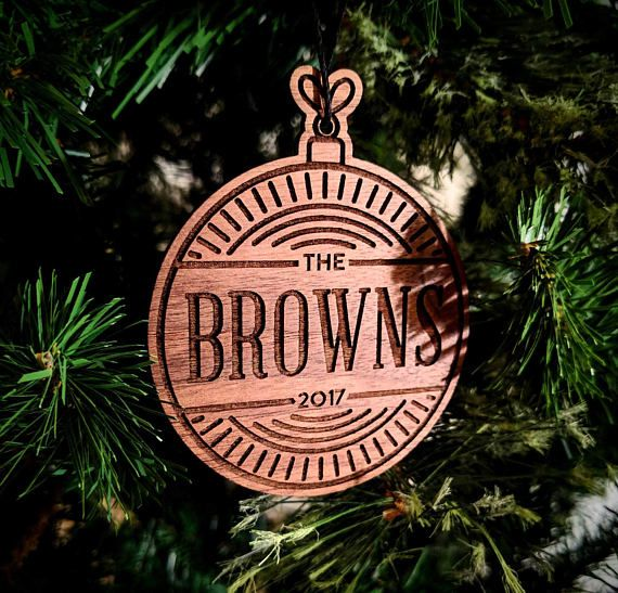 Personalized Christmas Ornament Newlywed Ornament Wooden