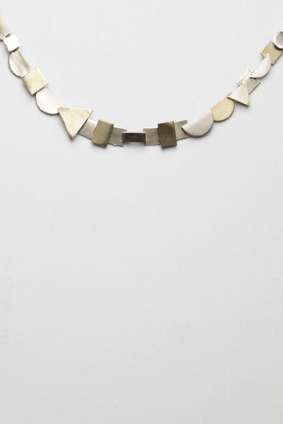 Totokaelo - Samma - Mixshapes Necklace - Brass/White Bronze