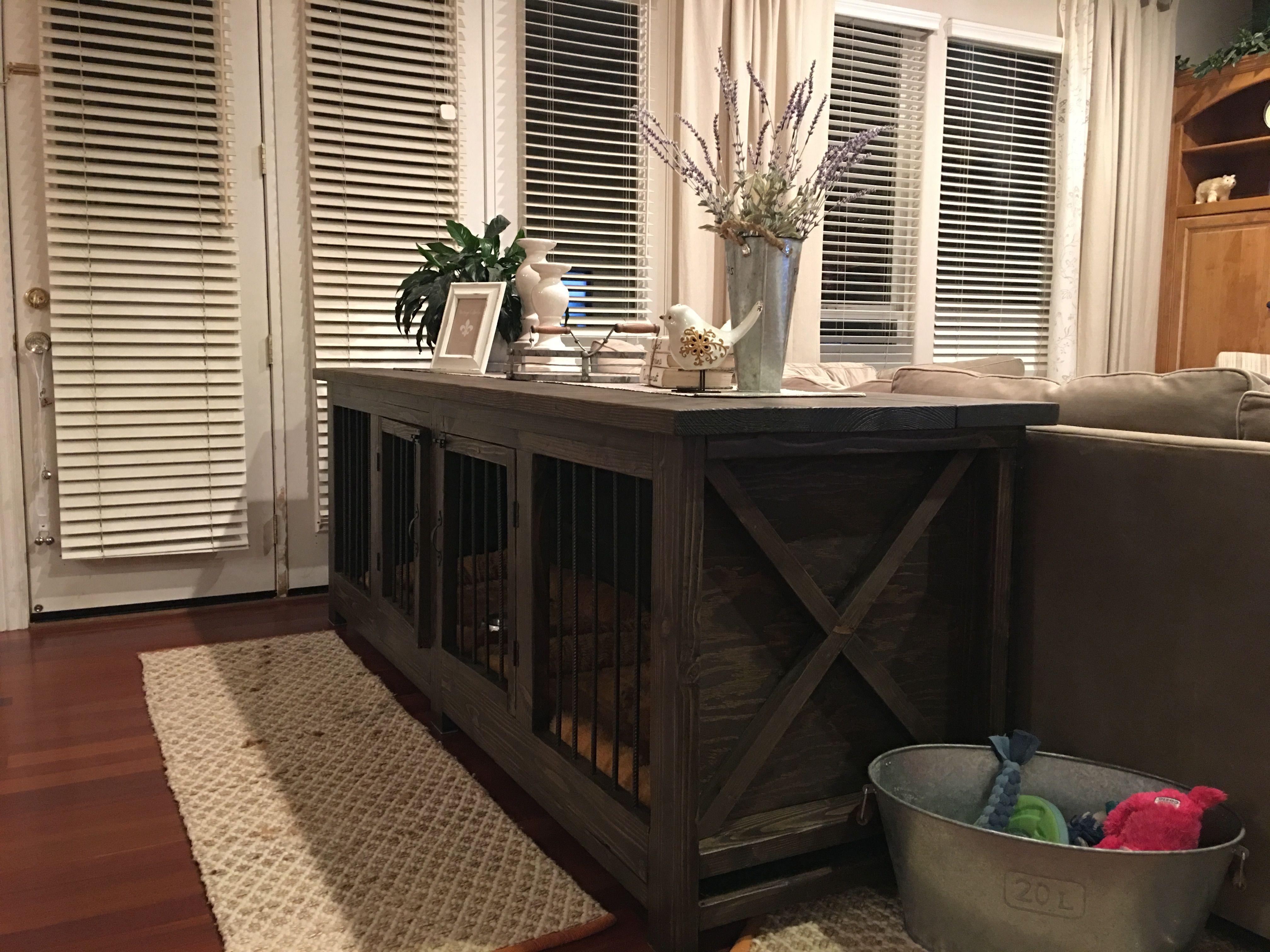 Farmhouse Dog crate/Sofa table. Don't like metal dog