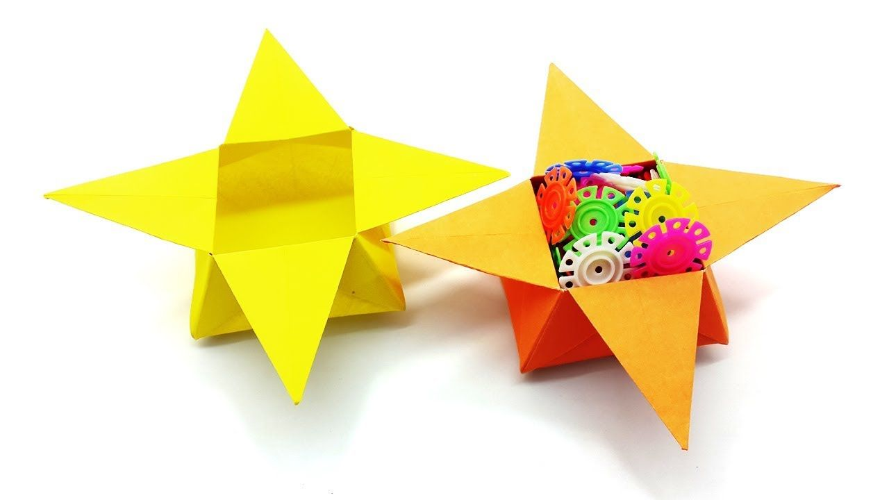 Easy simple best instruction learn how to make paper star diy paper craft box make very easy and simple in this video i show you how to make paper star box in this tutorial i use color paper and board marker jeuxipadfo Gallery