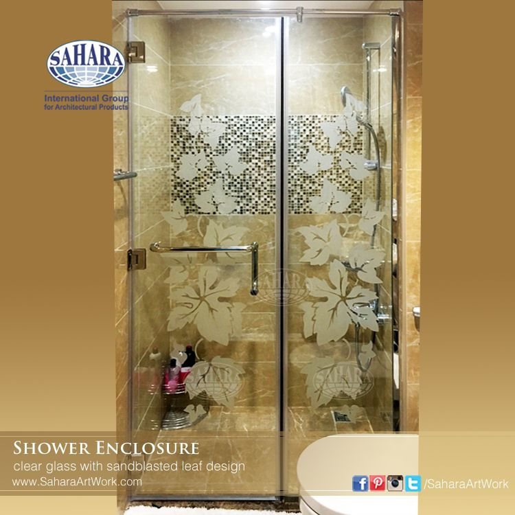 clear shower glass enclosure with sandblasted leaf design . Come and ...