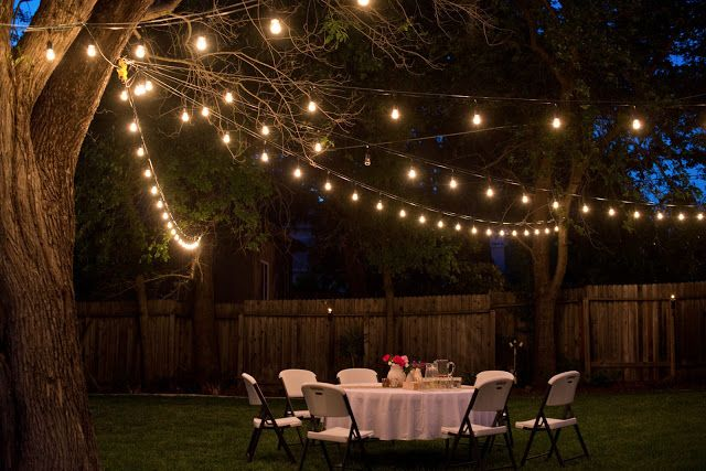 Backyard Anniversary Dinner Party Backyard Party Lighting