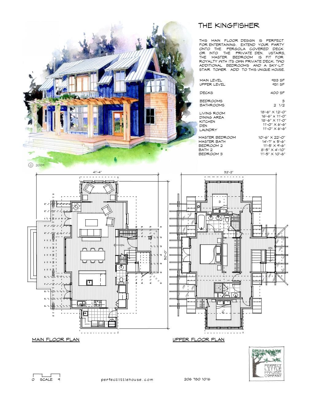 The Kingfisher Front And Floor Plan Small House Floor Plans