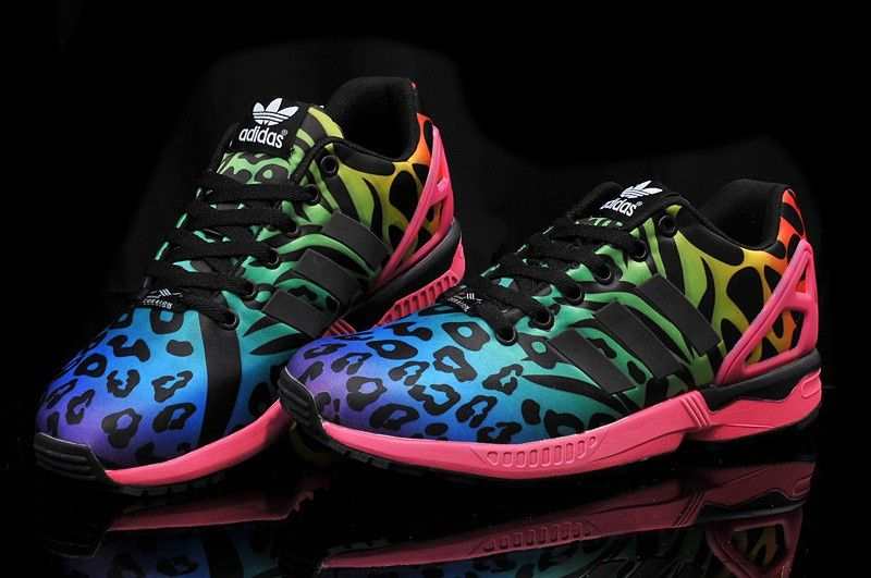 adidas zx flux leopard multi-color pink blue purple trainers