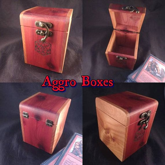 Show up to your next match in style. Custom hand made Aromatic Cedar an Alder Deck Box with custom D20 dice design. Each box is hand crafted and one of kind. Box in photo is the one you are purchasing. This box will hold 100 double sleeved cards. ***Cards not included only shown for
