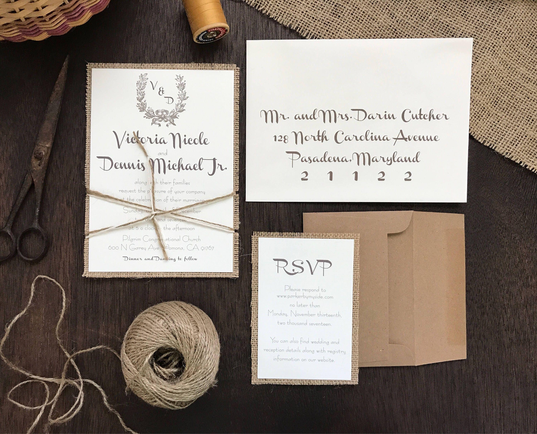 Vintage Wedding Invitation Set,Rustic Wedding Invitation,Burlap ...