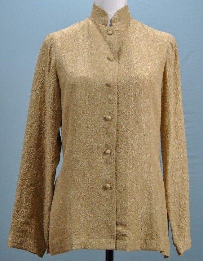 0593b02d35136 Orvis Womens Sz 6 Button Down Shirt Top Blouse 100% Silk Gold Floral Long  Sleeve  Orvis  Blouse