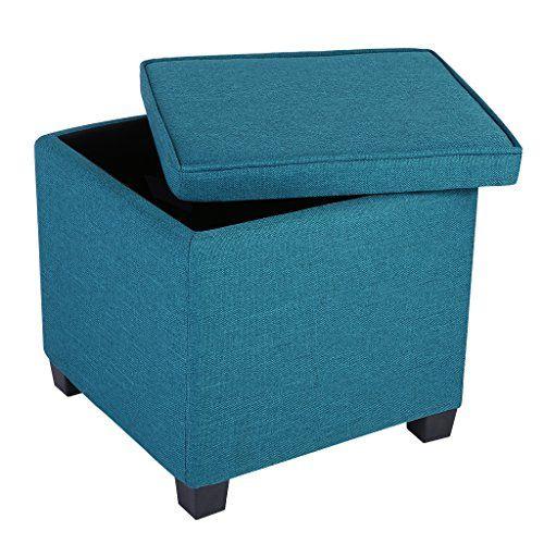 Langria Square Linen Upholstered Storage Ottoman Footstoo Https