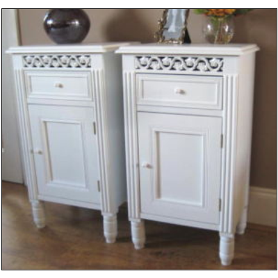 PAIR white BEDSIDE TABLES CABINETS LAMP TABLE vintage Shabby Chic NEW. PAIR white BEDSIDE TABLES CABINETS LAMP TABLE vintage Shabby Chic